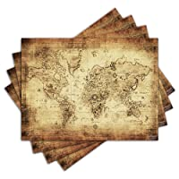 Jogo Americano - Mapa Mundi Vintage com 4 peças - 343Jo