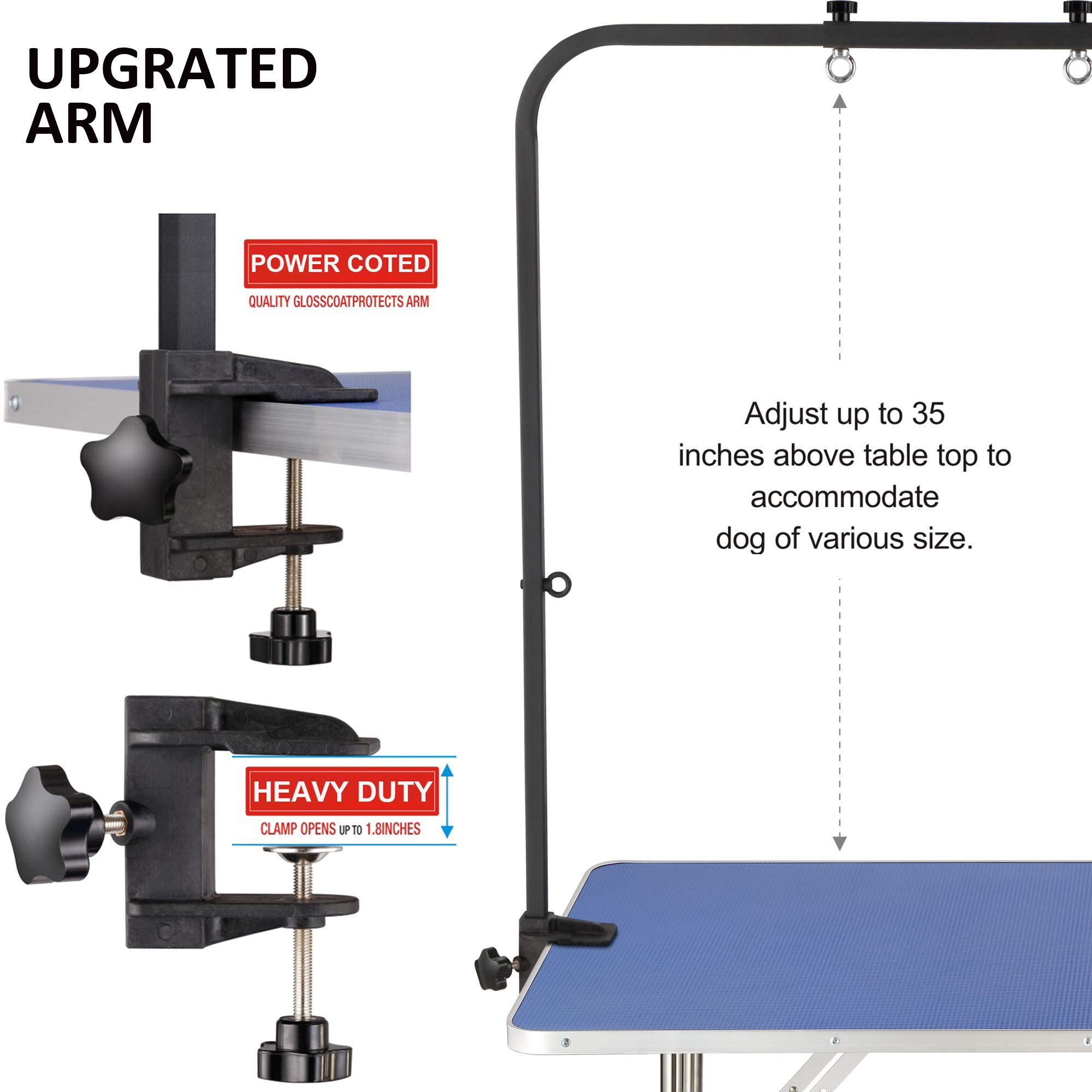 """ITORI 46"""" Professional Grooming Table for Dog and Pet which is Foldable and Durable with Adjustable Arm, Stainless Leg Frame, Extra Tool Holder and Extra Hauch Holders by ITORI (Image #4)"""