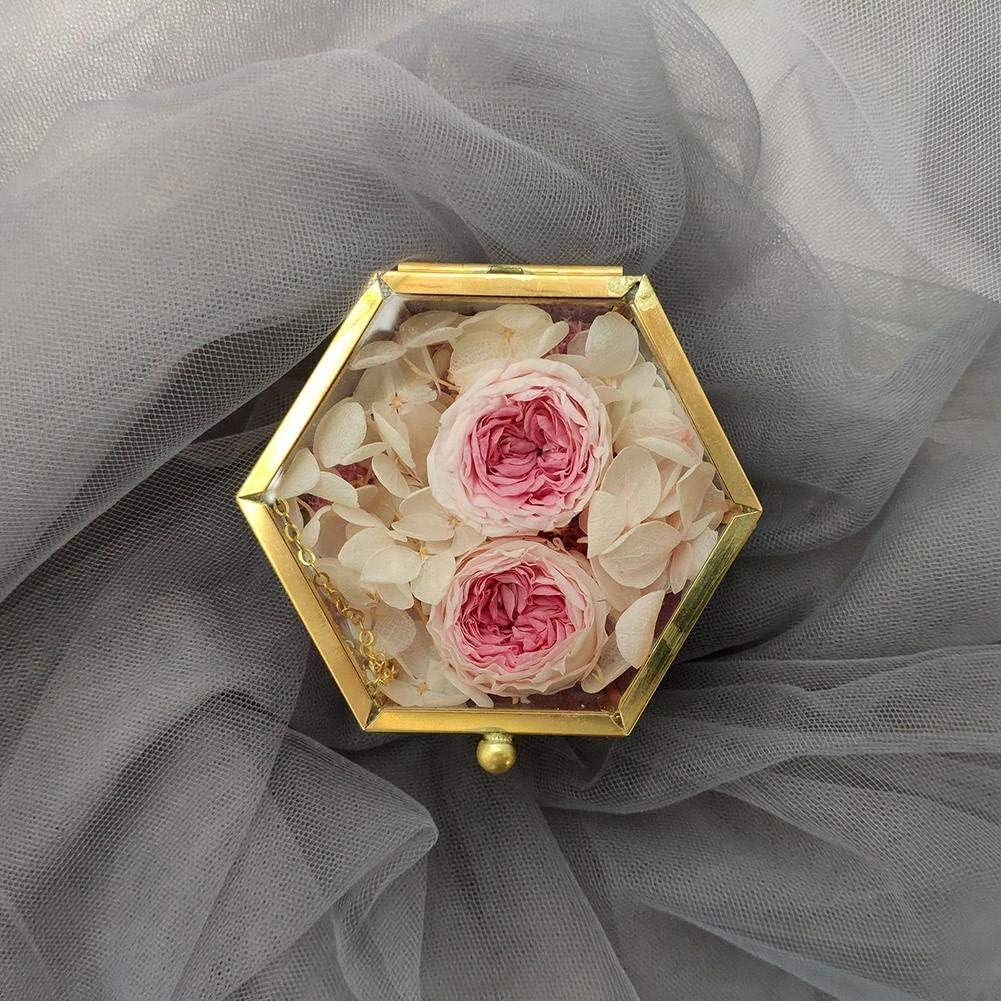 nordique g/éom/étrique verre transparent chambre de fleur chambre bague en verre bo/îte de bague de mariage bo/îte /à bijoux couvercle de verre de fleur /éternelle Bo/îte /à bijoux bijoux