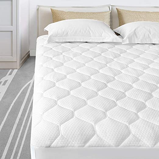 Breathable Deep Pocket Mattress Topper Quilted Textile Pad Down Alternative Fill
