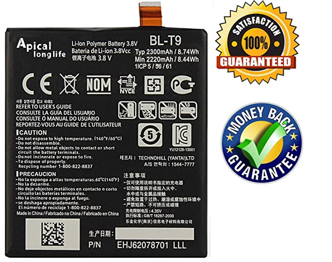 LONGLIFE Replacement Battery Compatible for Google Nexus 5 LG D820 D821  2300mAh Replacement Battery BL-T9 3 8V 8 74Wh Batería de repuesto