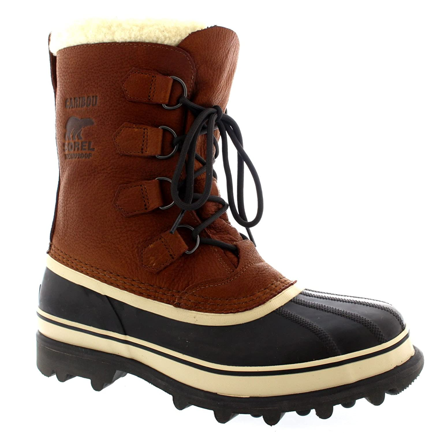 Mens Sorel Caribou WI Mid Calf Snow Winter Rain Fur Lined Leather Boot - Tan - 12