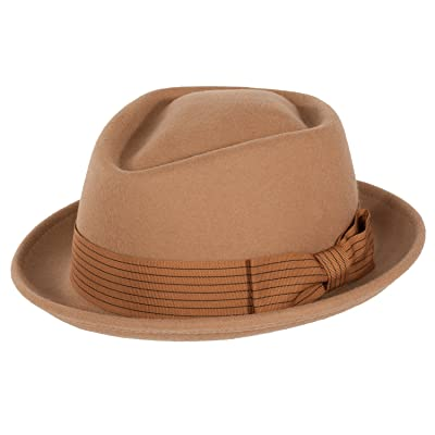 NYFASHION101 Mens Wool Blend Satin Lining Matching Band Fedora Hat Large//X-Large Brown