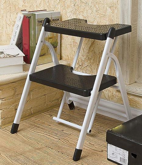 ZGYQGOO - Escalera Plegable de Metal, Taburete Plegable, Escalera, Mueble de casa, para Salir, sillas con Enchufe de Pescado de plástico, Muebles (Color: Blanco 3 Capas): Amazon.es: Hogar