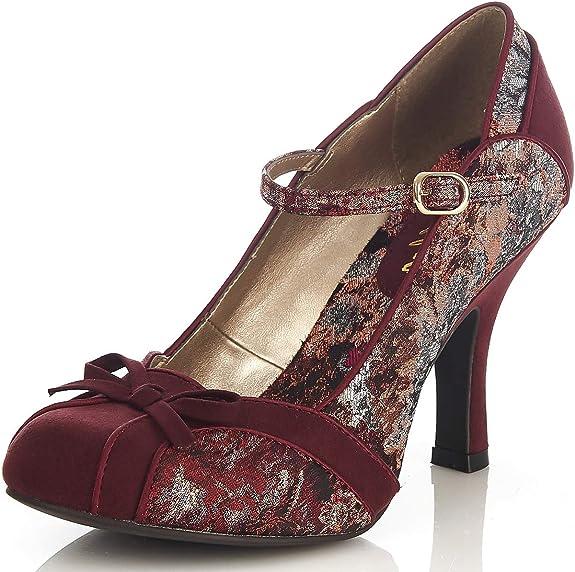 TALLA 36.5 EU. Ruby Shoo Cleo Womens Borgoña Floral Court Zapato