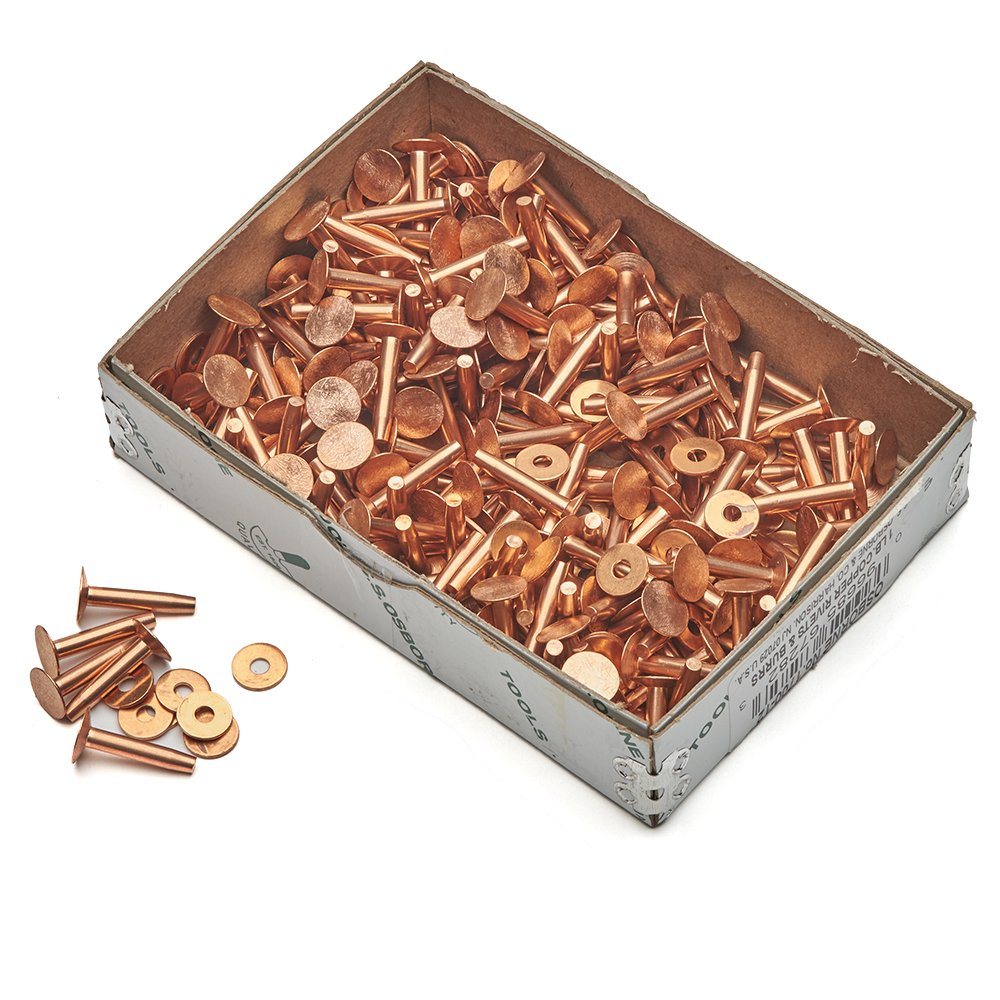 Solid Copper Rivets and Burrs for Leather and Canvas (100 Pack)