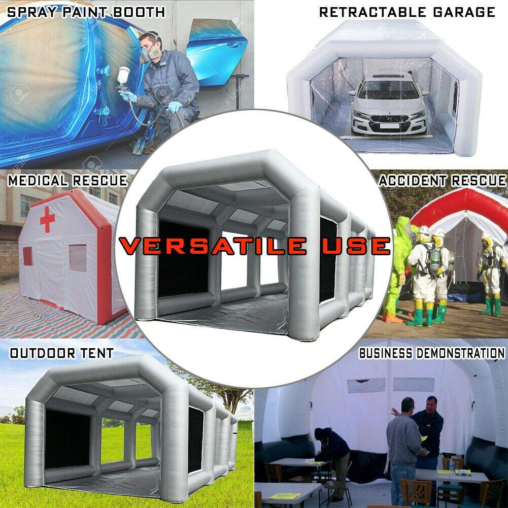 LIUMANG Inflatable Spray Booth Paint Tent Mobile Portable Car Workstation Filtration System Environmental Solutions (Grey, 33x16x11 FT)