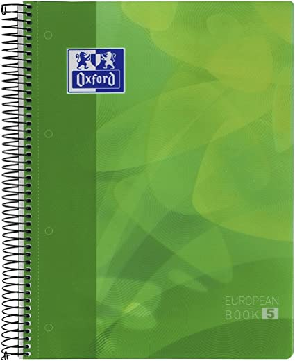Cuaderno Espiral OXFORD Lagoon EB5, Din-A4 120H Tapa Plástico Cuadrovías 5 mm. Verde: Amazon.es: Oficina y papelería