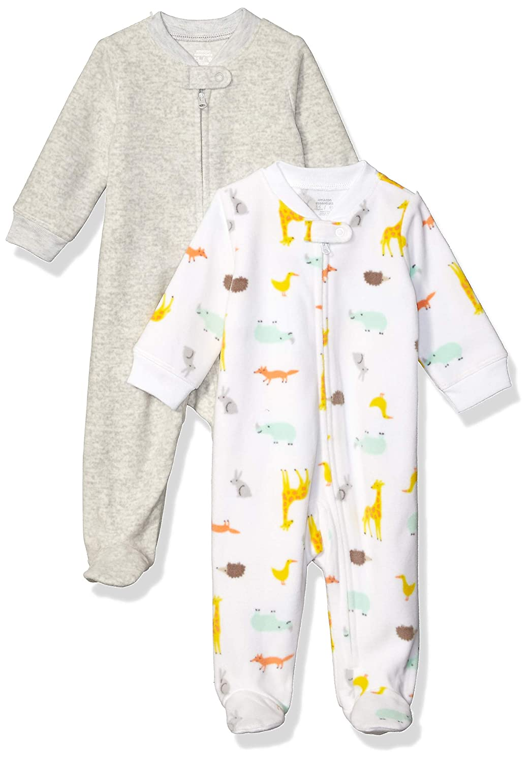 0-3M Essentials Baby 2-Pack Microfleece Sleep and Play Multi Animal