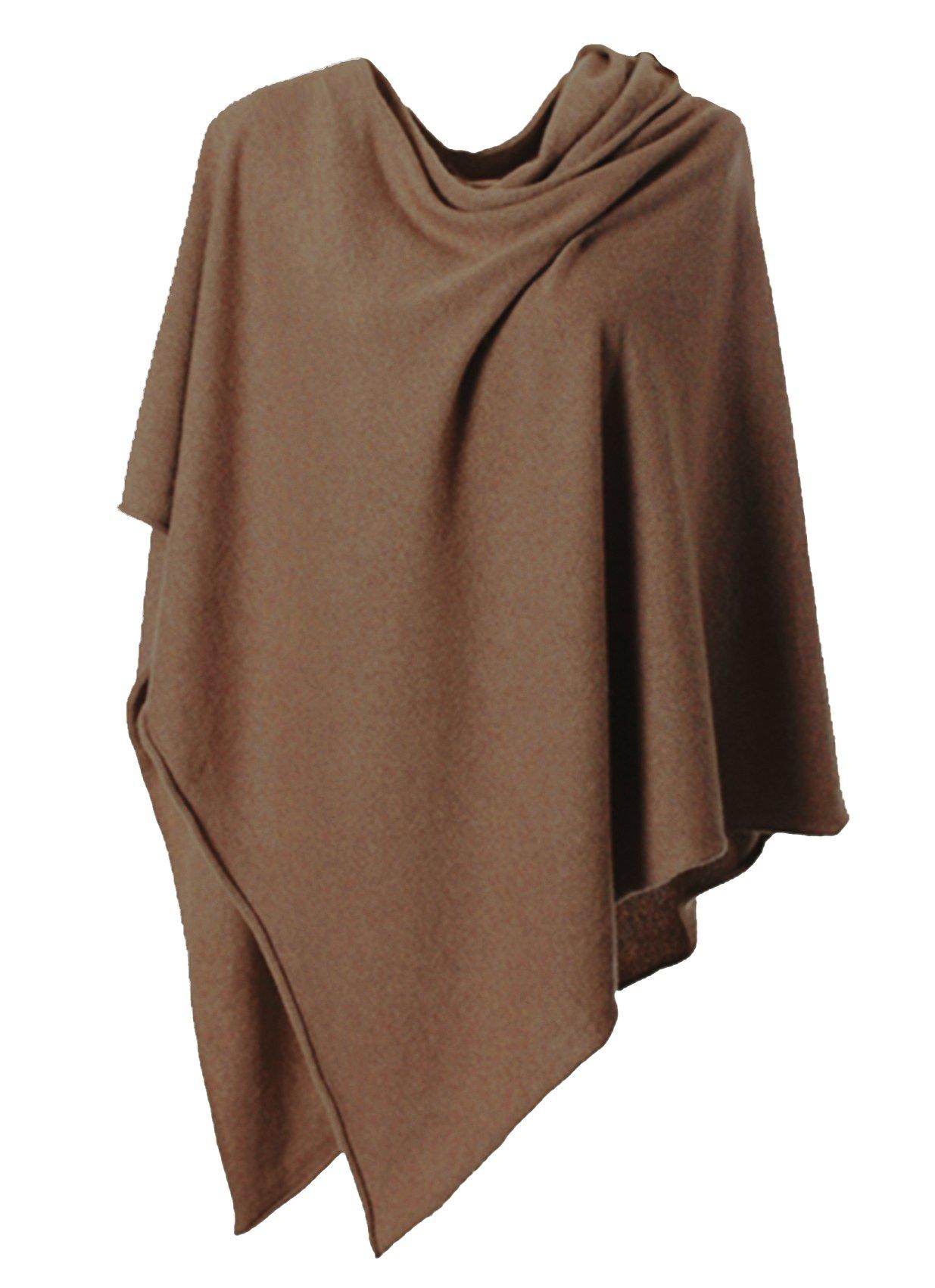 Anna Kristine Asymmetrical 100% Cashmere Draped Poncho Topper - Chocolate by Anna Kristine
