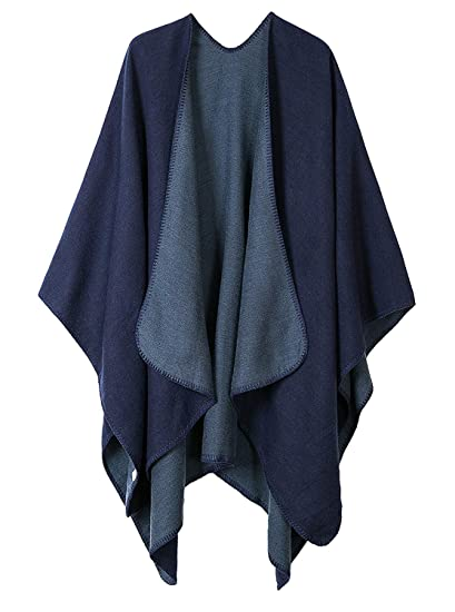 Shmily Girl Femme Cape Poncho Extra Large écharpe Châle Blanket Poncho  Automne Hiver (One Size 0ed0bcf9e65
