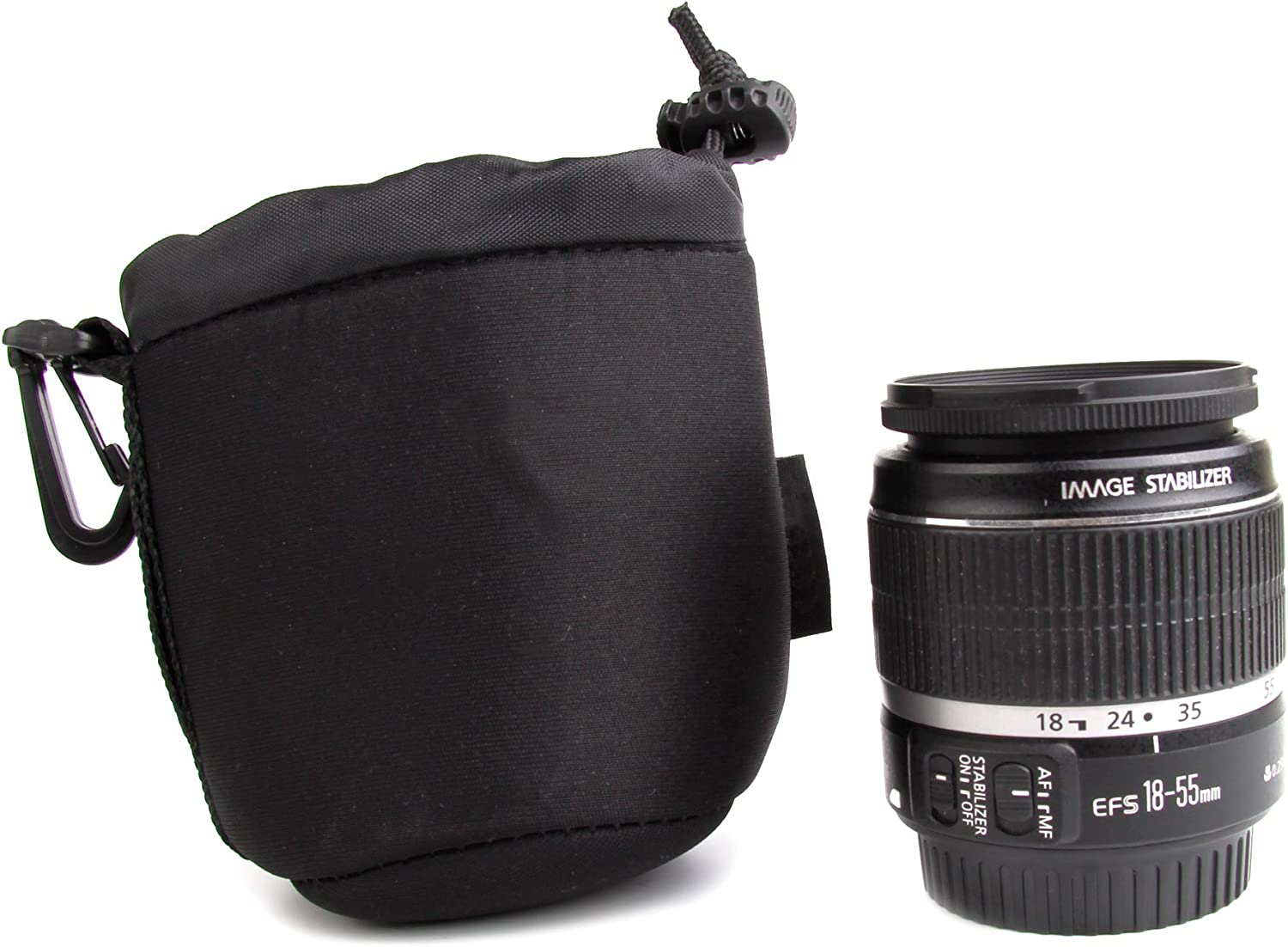 DURAGADGET Padded Lens Pouch Case Compatible with Pentax SMC DA 18-55mm//50mm f//1.8 SMC DA Lenses