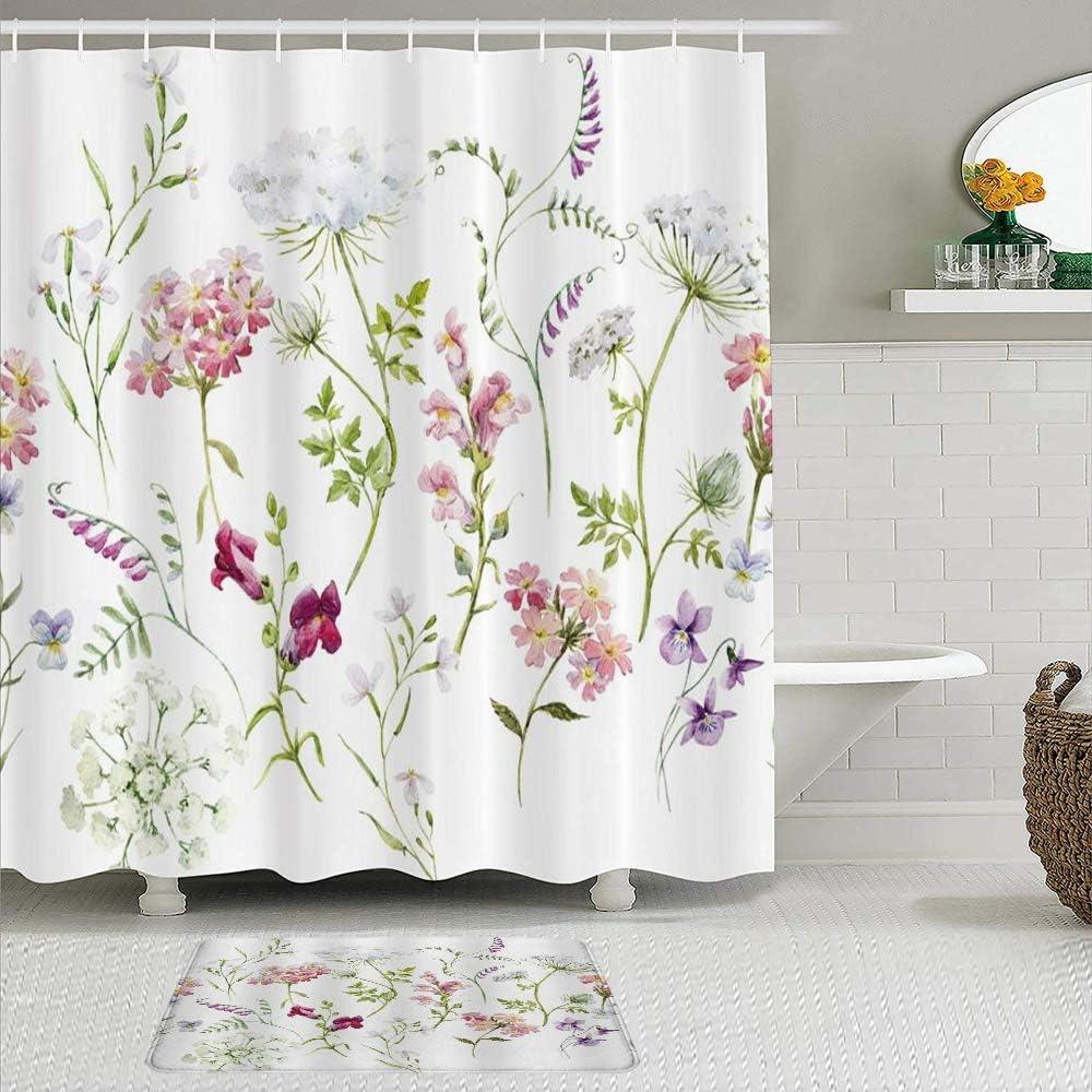 ShopHM Juegos de Cortinas de baño con alfombras Antideslizantes, Hierbas Plantas Florales Acuarela Flores Silvestres Flor Delicada Rosa Tansy Pensamientos Retro Blanco,con 12 Ganchos