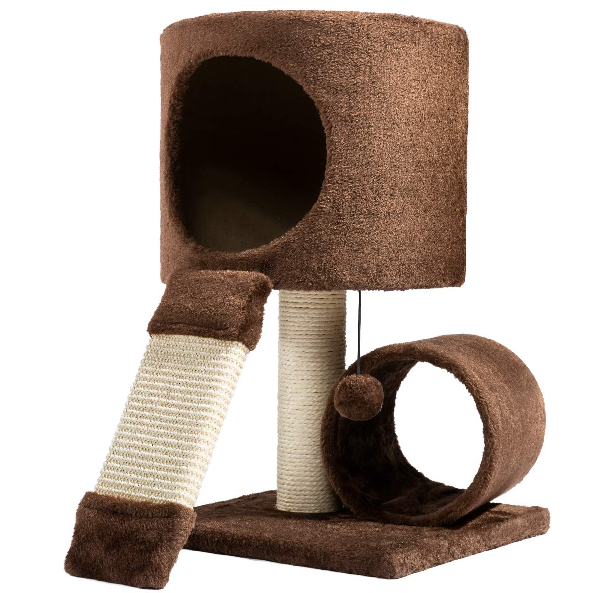 Hollypet Cat Activity Tree Bed Scratching Post Toys Pet Furniture Scratcher Play House Condo Coffee 21 Inch High by Hollypet