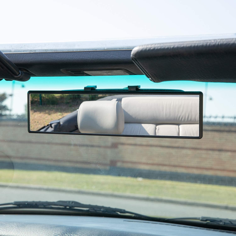 TRIXES Espejo Retrovisor Curvo Extra ancho 300mm con gancho para Abrochar Panor/ámica de puntos ciegos para Aprender a Conducir