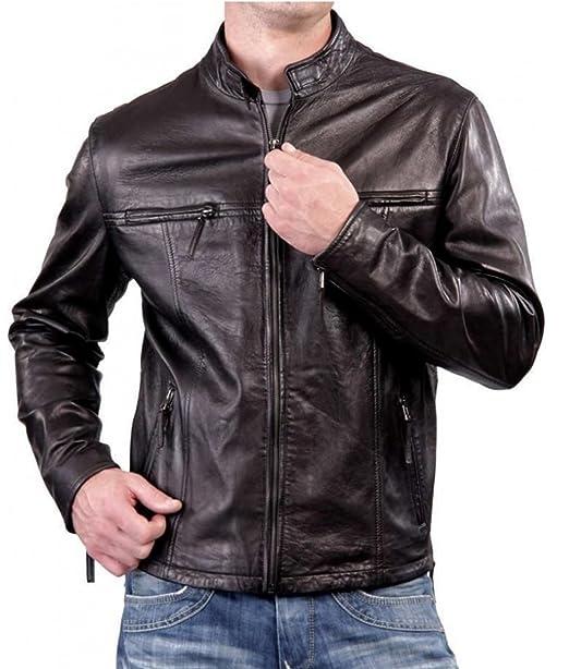 773afcc83b8 ZARAR Motorcycle Jacket Black Rivet Men s Biker Slim Fit Casual Dark Brown  Leather Jacket Outerwear (