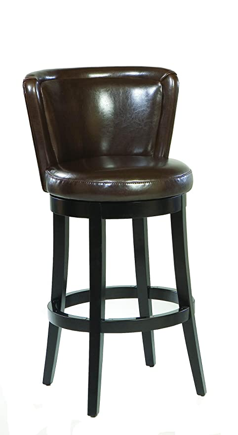 Armen Living LCMBS11SWBABR26 Lisbon 26u0026quot; Counter Height Swivel Barstool  In Brown Bonded Leather And Black