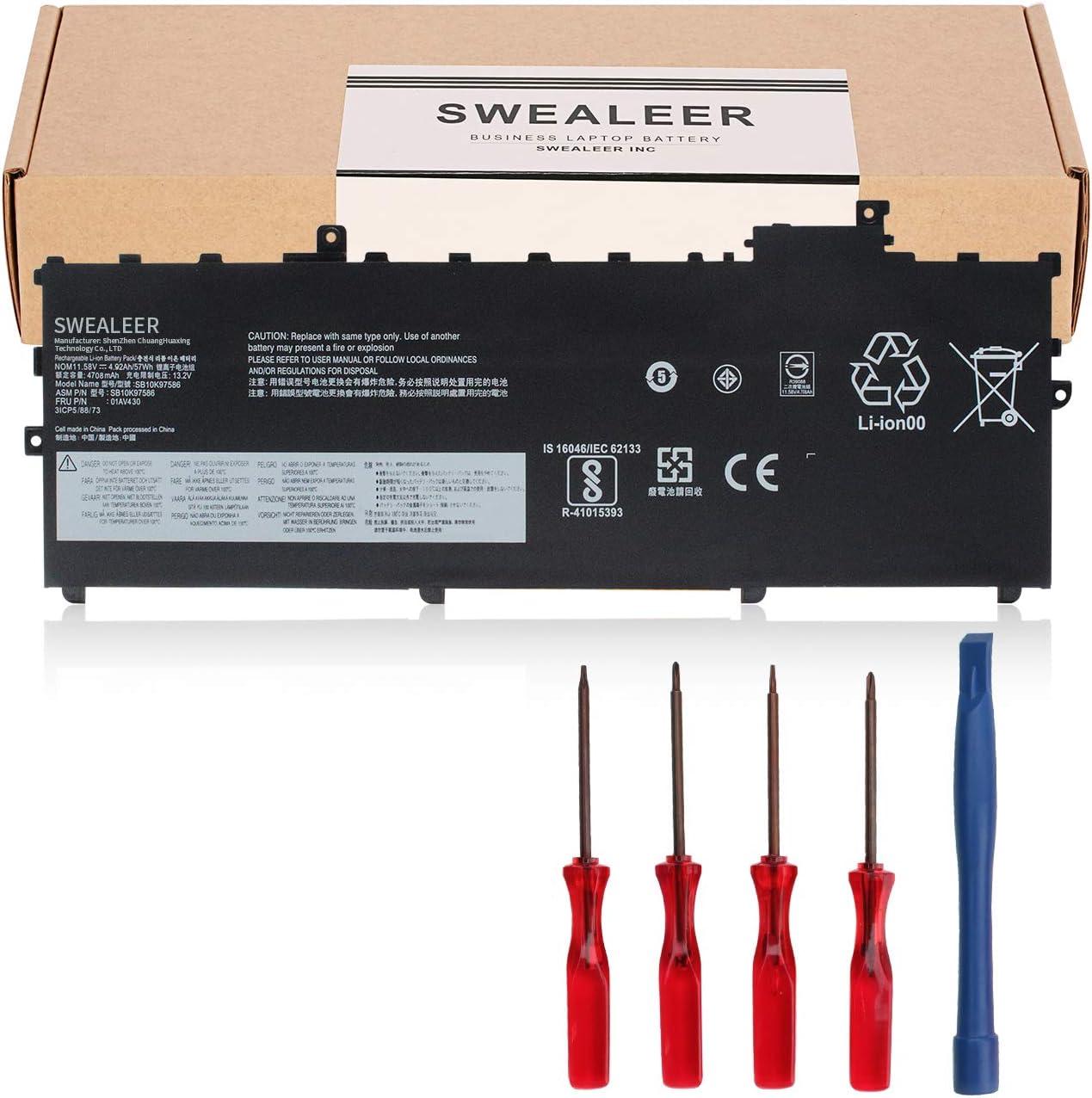 SWEALEER 01AV430 Laptop Battery Compatible with Lenovo ThinkPad X1 Carbon 5th Gen 2017 6th Gen 2018 Series SB10K97587 01AV431 SB10K97588 01AV494 SB10K97586 01AV429 SB10K97586 [11.58V 57Wh 4708mAh]