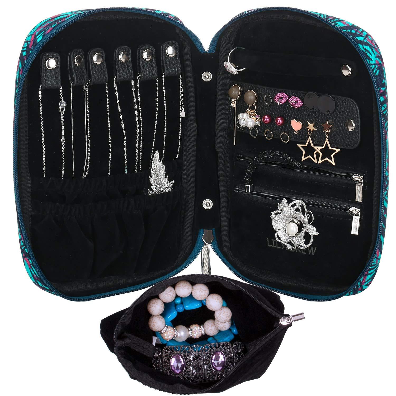 Lily & Drew Travel Jewelry Storage Carrying Case Jewelry Organizer with Removable Pouch (V1 Black) Trepmall LWO0003-B