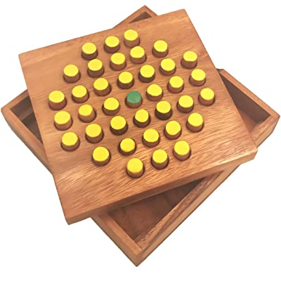 Winshare Puzzles and Games Solitaire Hexagon 37 Pegs - Strategy Wooden Game: Toys & Games