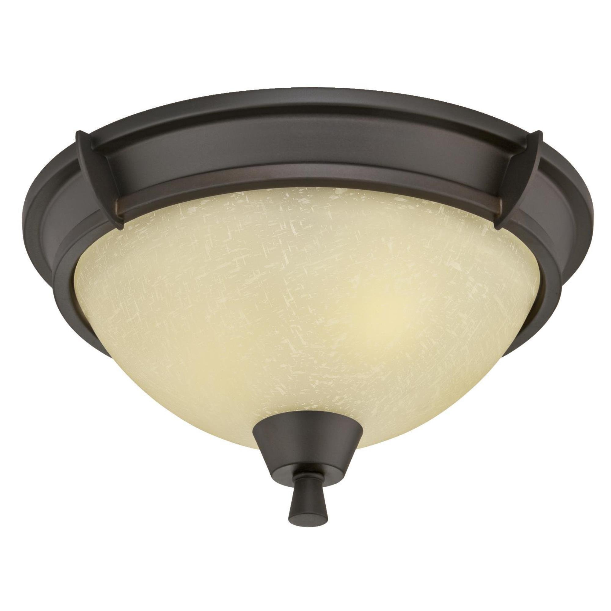 Westinghouse 6303000 Midori Two-Light Indoor Flush Mount, Oil Rubbed Bronze Finish with Amber Linen Glass