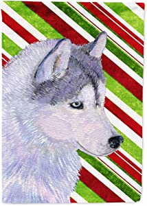 Caroline's Treasures SS4533GF Siberian Husky Candy Cane Holiday Christmas Flag Garden Size, Small, Multicolor