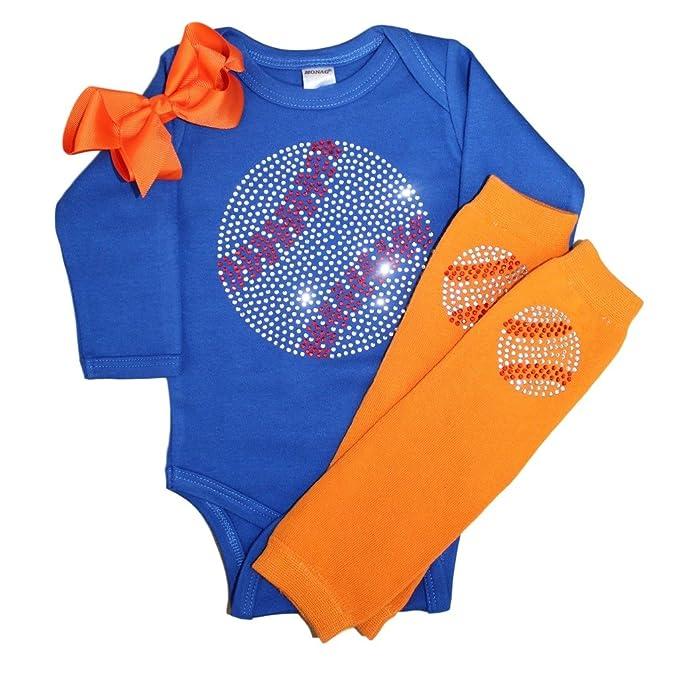 Amazon.com: Rhinestone bebé niña Body de béisbol traje azul ...