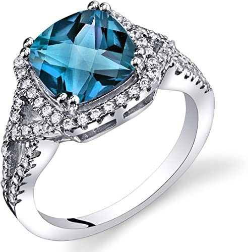 PRECIOUS 1 CT ROUND CUT BLUE TOPAZ 925 STERLING SILVER RING SIZE 5-10