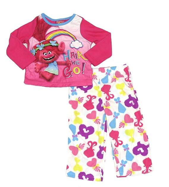 9301382f5e Dreamworks Toddler Girls Trolls Long Sleeve Pajama Sleepwear Set (Poppy  Pink