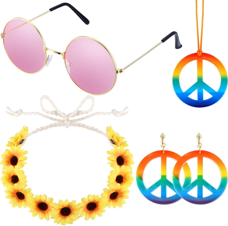 5 Pieces Hippie Costume Set Glasses Peace Sign Pendant Earrings Tie Dye Headband