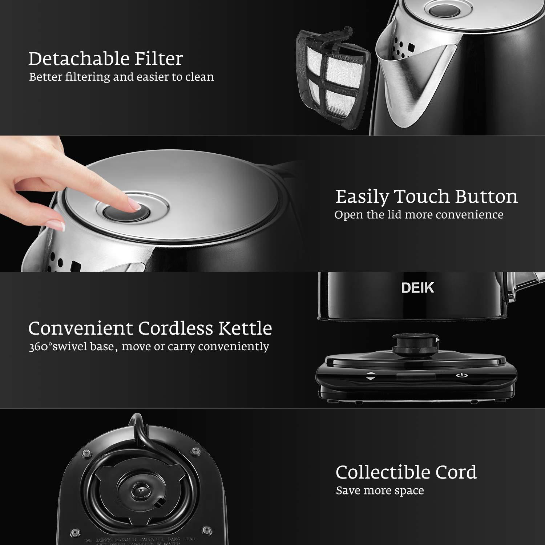 5 Temp/ératures Pr/ér/égl/ées Deik Bouilloire /électrique 2200w Noir 1.7L Ecran Tactile LED Bouilloire INOX Temp/érature Thermostat R/églable avec Filtre