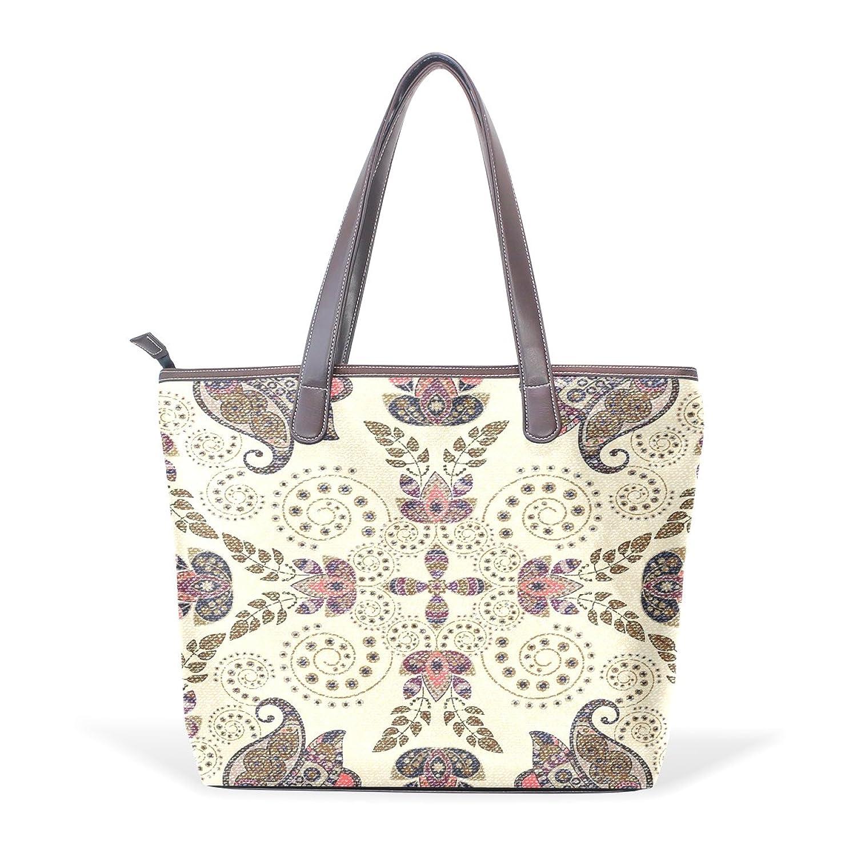 WDYSECRET Brown Paisley Women's Pu Leather Handbag Shoulder Bag Zipper Shopping Bag