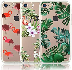 iPhone 7 Case, iPhone 8 Case, [3-Pack] CarterLily Watercolor Flowers Floral Pattern Soft Clear Flexible TPU Back Case for iPhone 7 iPhone 8 4.7'' (Plants)