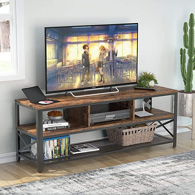 Soporte de TV para televisores de hasta 60 pulgadas, mesa de TV con Estantes para sala de estar Centro de entretenimiento: Amazon.es: Hogar