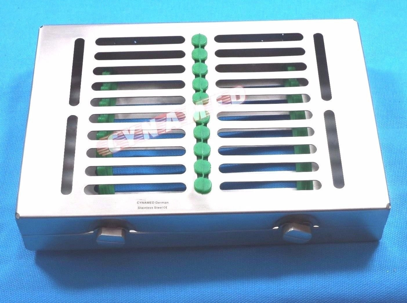 PREMIUM GERMAN STAINLESS 1 HEAVY DUTY DENTAL AUTOCLAVE STERILIZATION CASSETTE BOX TRAY FOR 10 INSTRUMENT-A+QUALITY DOUBLE BUTTON TYPE DETACHABLE ( CYNAMED BRAND )