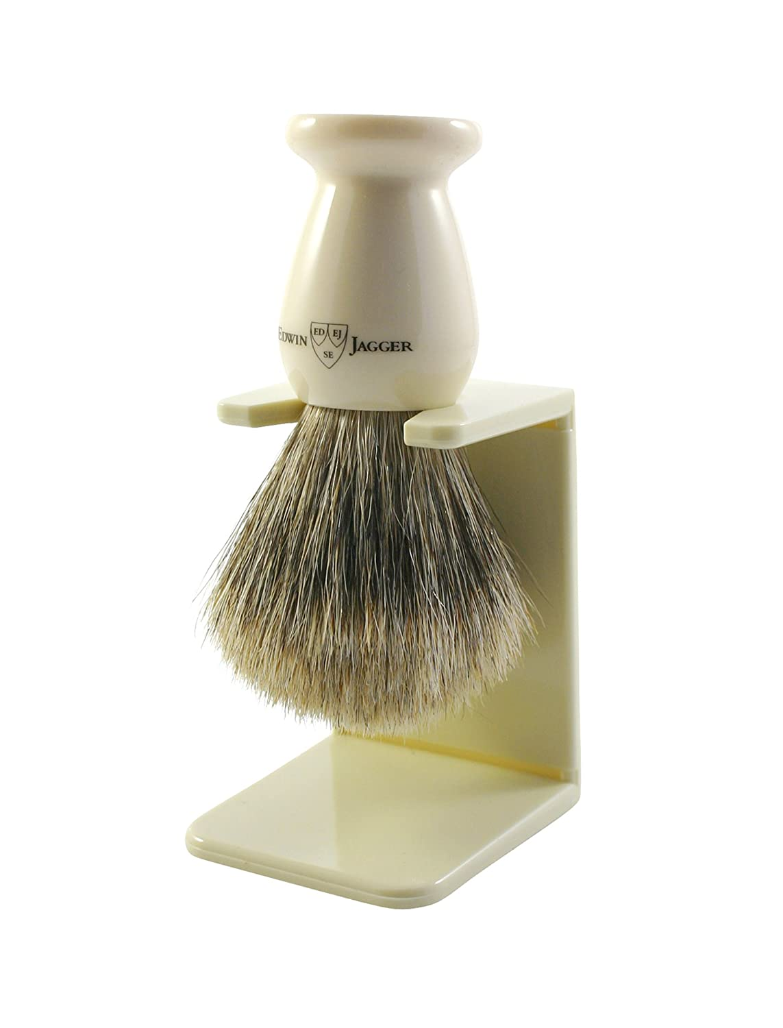 Edwin Jagger 9ej947sds Handmade Imitation Ivory Shaving Brush with Drip Stand, Ivory, Small 9EJ947SDSAMZ