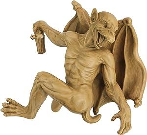 Design Toscano NG32115Gaston the Gothic Gargoyle Climber Hanging Statue, Large, 16 Inch, Polyresin, Gothic Stone