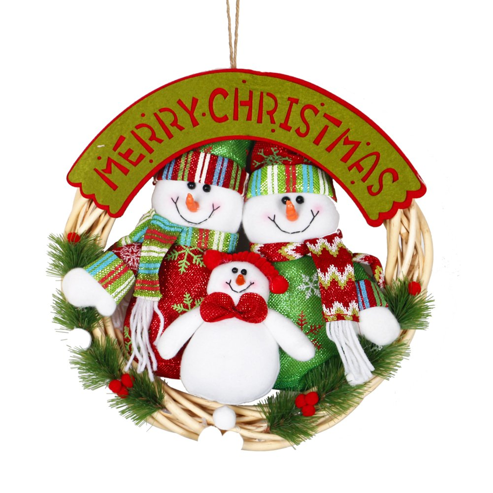 Snowman Family Christmas Wreath Garland Ornaments Arcades Hotel Christmas Decorations