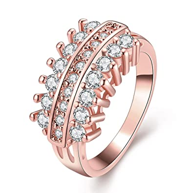 fbd38bcf2 Amazon.com: LuckyWeng Women's New Exquisite Fashion Jewelry Rose Gold Noble  Zircon Wedding Ring: Jewelry