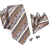 Hi-Tie Floral Design Tie Handkerchief Cufflinks for Men