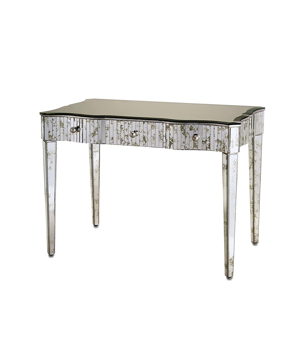 Currey and Company 4004 Gilda Console Table in Granello Silver Leaf-Light
