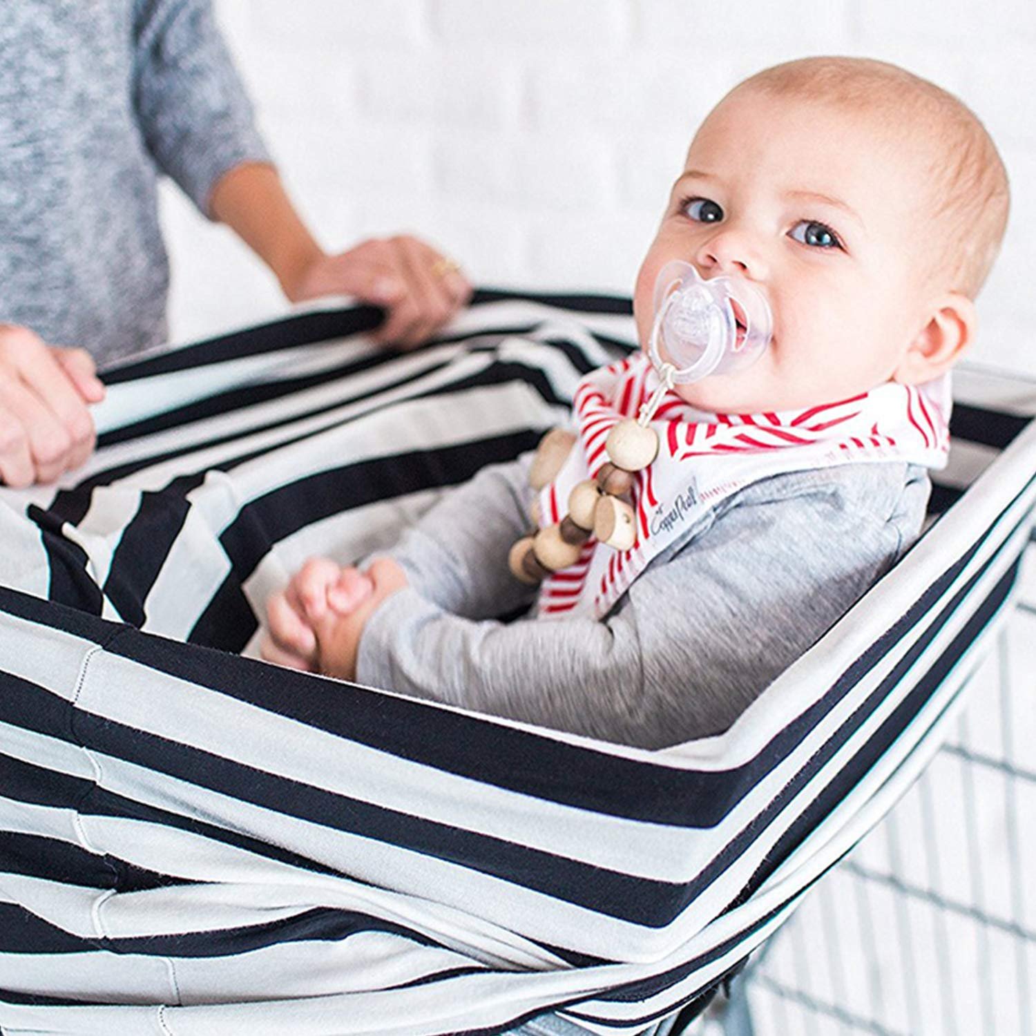 100/% Breathable Soft Cotton-Gray Chevron Multi Use for Stroller and Shopping Cart TILLYOU Breastfeeding Nursing Cover Baby Car Seat Canopy Covers