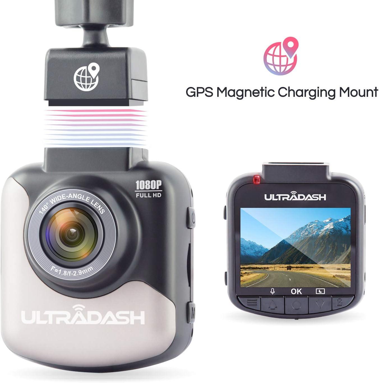 UltraDash C1 Magnetic GPS Mount Dash Cam Car Camera DVR Dashboard Digital Driving Video Recorder with Full HD 1080P, 140 Degree Wide Angle, G-Sensor, w/Exmor Image Sensor, 2 Inch LCD