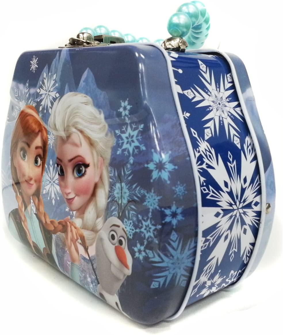 Master Toys Disney Frozen Princess Elsa and Anna with Olaf Beaded Handle Tin Purse Toy