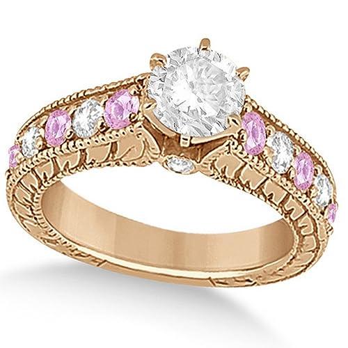 14k Gold Women\u0027s Vintage Diamond Pink Sapphire Engagement