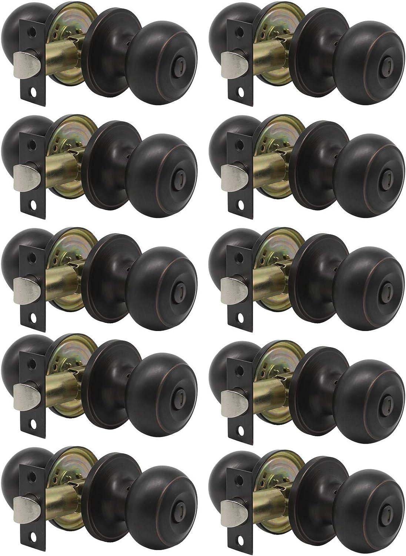 Gobrico Oil Rubbed Bronze Round Ball Door Knobs Keyless Privacy Lockset Bedroom and Bathroom Handles,Interior Door Lock Sets for Bed Bath 10 Pack