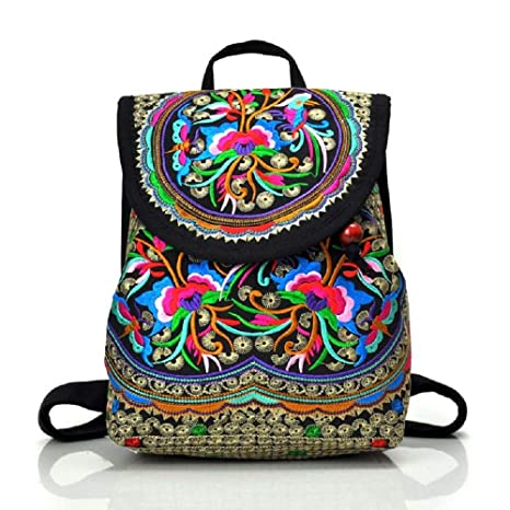 14fc65347028 Serstone Women Embroidery Ethnic Canvas Backpack Girls Travel Handbag Small  Drawstring Casual Shoulder Bag