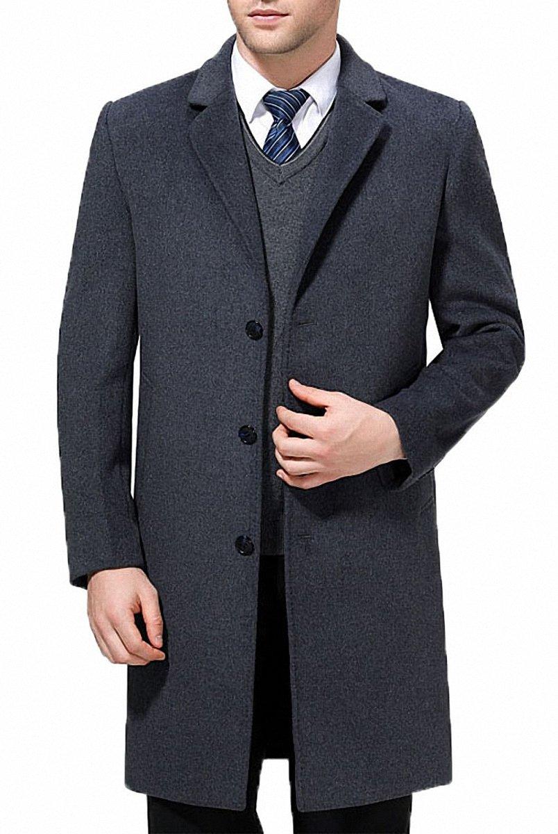 FASHINTY Men's Classical Style Single Breasted Long Dress Coat Wool Coat #00123 Gary XL