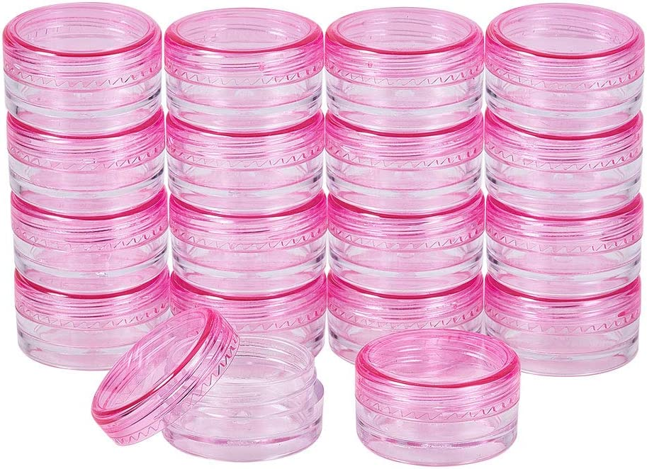 PandaHall Elite 120 Unidades 3 g Redondo vacío Transparente contenedor Tarro con Tapa de Rosca Rosa para Maquillaje cosméticos Muestra Bead Small Jewelry Nails Art Cream