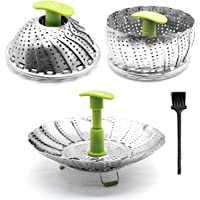 """Steamer Basket Stainless Steel Vegetable Steamer Folding Steamer Insert for Veggie Fish Seafood Cooking with Cleaning Brush & Great Grips, Expandable to Fit Various Size Pot (6"""" to 11"""")"""